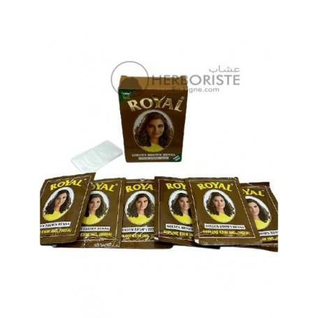 Henné Royal couleur brun doré pour cheveux - 6 sachets-حنة رويال